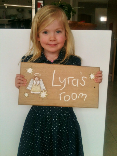 Lyra's personalised wooden sign