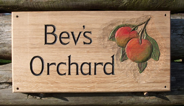 Bevs Orchard Wooden Sign