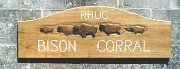 Rhug Bison Corral Handmade Wooden Sign