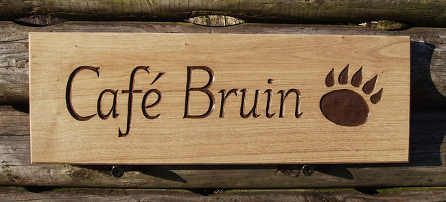 Cafe Bruin Handmade Wooden Sign