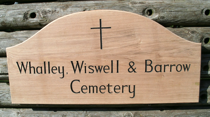Whalley Cemetery Handmade Wooden Sign