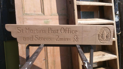 St Martin's Post Office Wooden Sign Unpainted