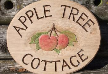 Woodcott Wooden Signs Apple Tree Cottage sign with motif