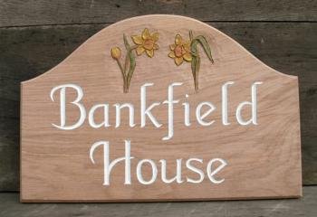 Woodcott Wooden Signs Bankfield House rectangular arched