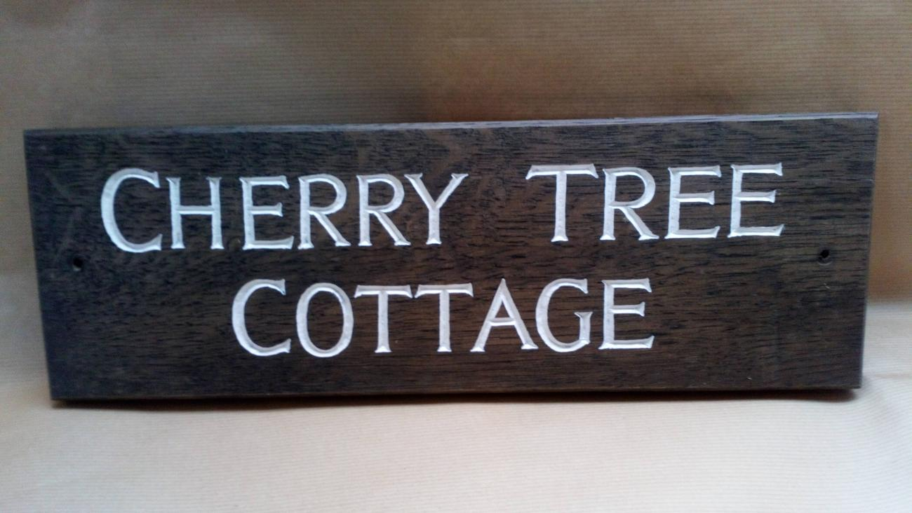 Wooden sign - Cherry Tree Cottage