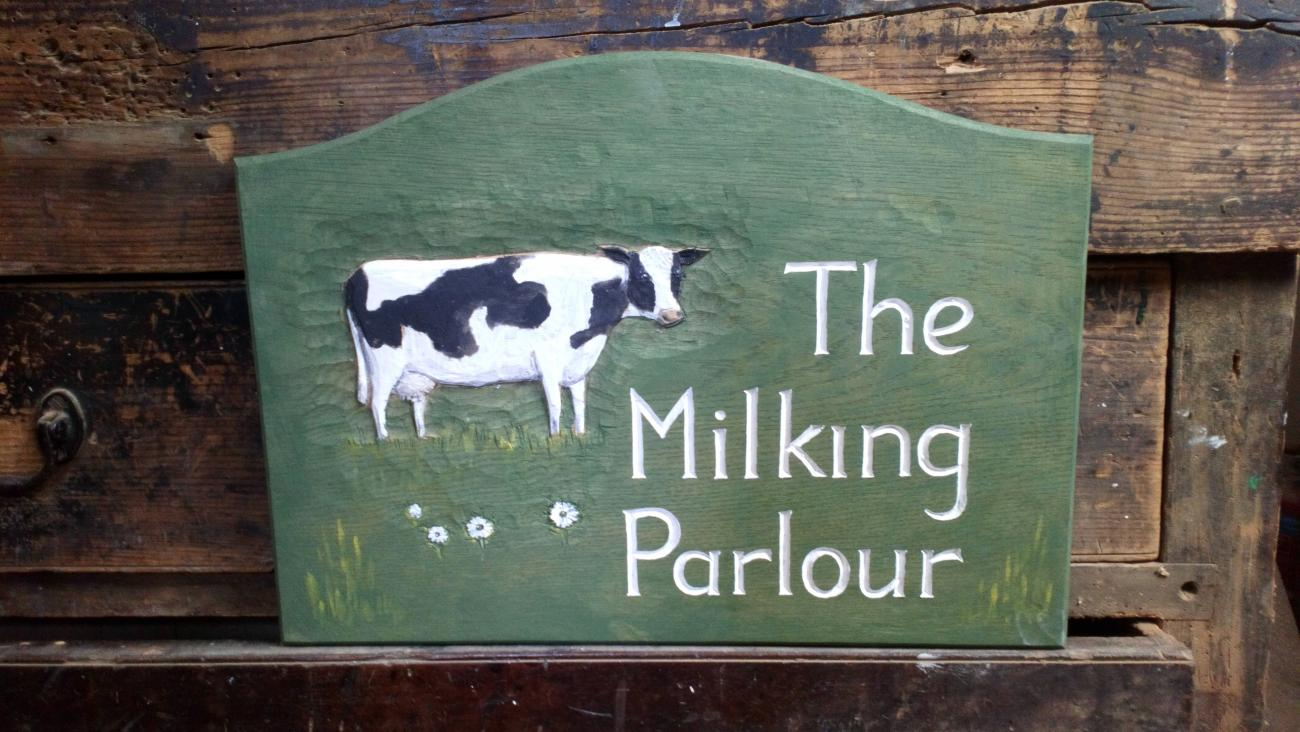 woodcott signs milking parlour
