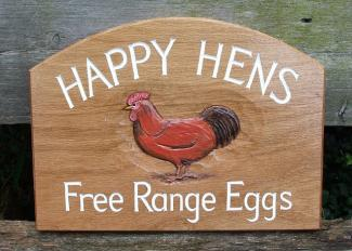 Woodcott Wooden Signs Happy Hens Business sign