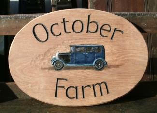 October Farm Handmade Wooden Sign