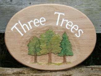 Three Trees Handmade Wooden Sign