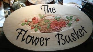 Wooden Sign The Flower Basket